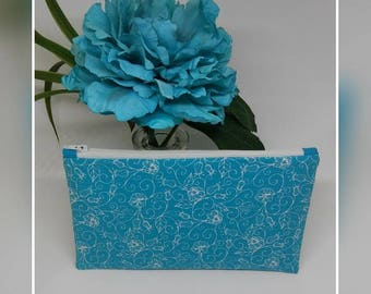 Aqua blue & white floral Makeup bag, flat zipper pouch, cosmetic bag