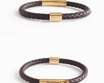 Father's Day Gift / Personalized Men's Braided Leather Bracelet / Mens Bracelet / Personalized Gift for Him / Groomsman gift - LB06