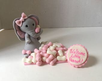 Welcome little peanut elephant cake topper