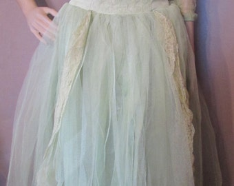 1950 Prom Dress 1960 Dance Dress Evening Dress Mint Green Tulle Lace Satin Dress Lace Bolero Spring Dance Dress Summer Dress Vintage Clothes