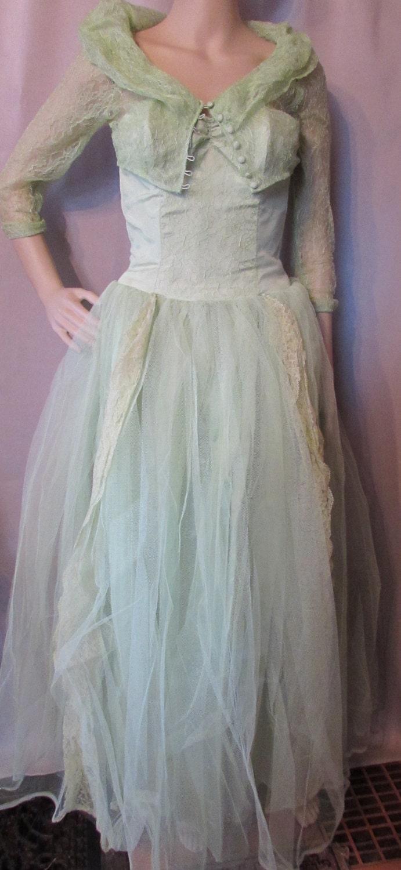 1950 Prom Dress 1960 Dance Dress Evening Dress Mint Green
