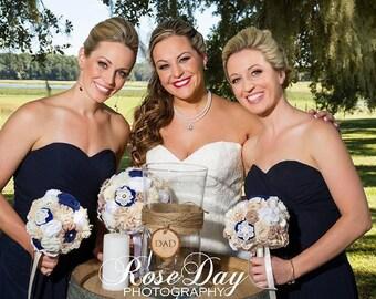 Navy blue ivory wedding bouquet, bridal bouquet, matching bridesmaids bouquets, rustic boquet set