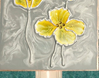 Yellow and Grey Flower Night Light Plug In Handpainted Yellow and Grey Bathroom Decor Nightlight Grey and Yellow Decor Poppy Flower Wall Art