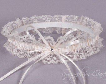 Wedding Garter in Ivory Satin and Lace with Swarovski Crystal