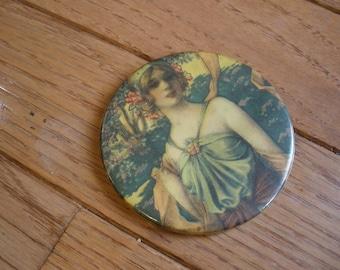 Vintage ART DECO Pocket MIRROR - Woodland Nymph - Cosmetic - Collectible - Antique