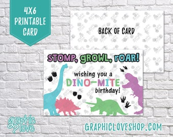 Printable 4x6 Stomp Growl Roar Dino-mite Dinosaur Birthday Card for Girls | Digital JPG File, Instant Download, NOT Editable, Ready to Print