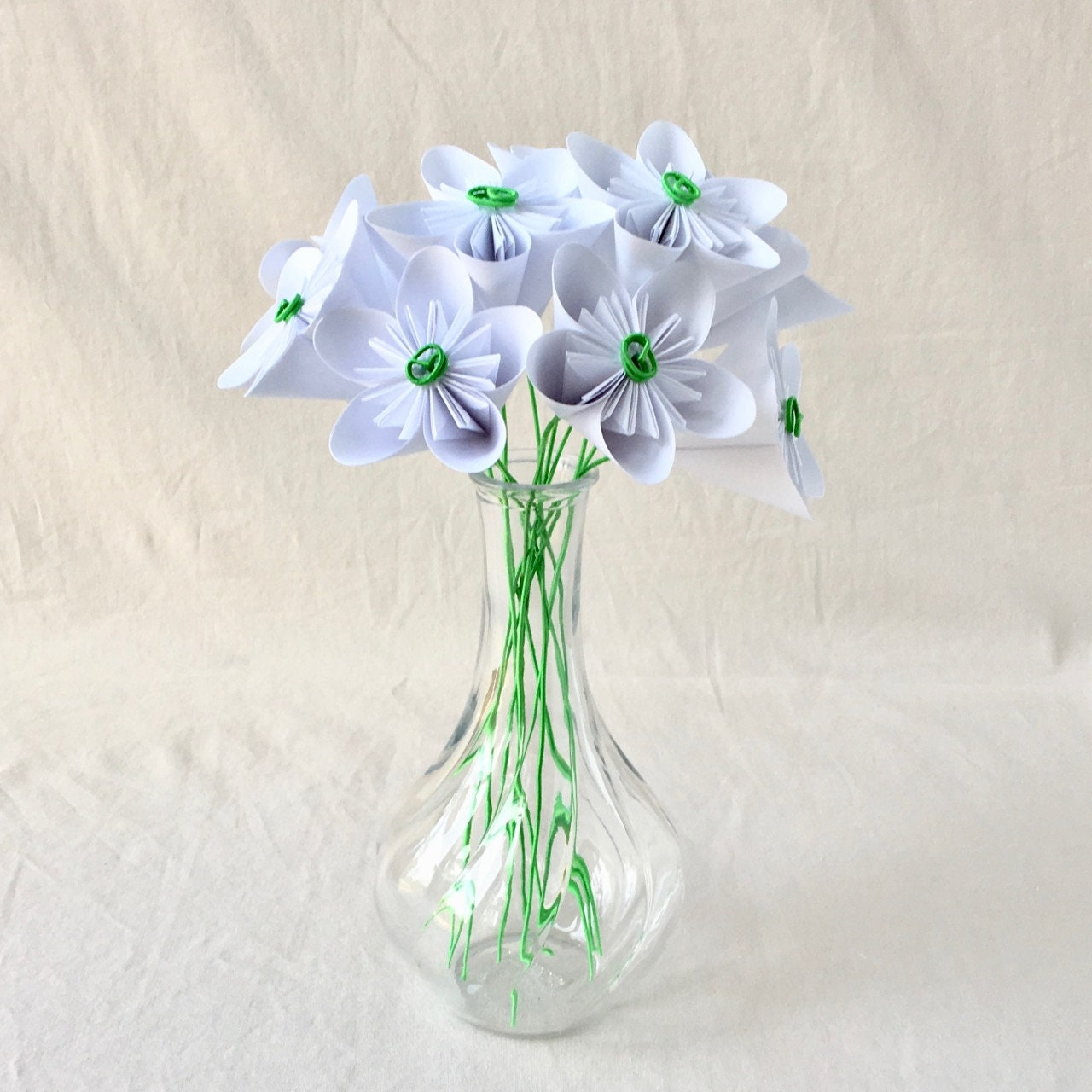 White Origami Flower Bouquet Office Decor Cancer Patient