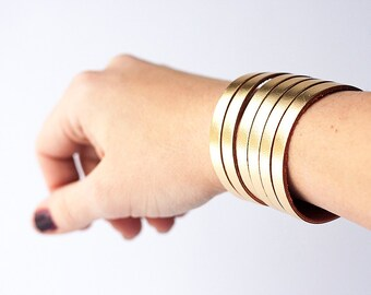 Leather Bracelet / Original Sliced Cuff / Metallic Gold