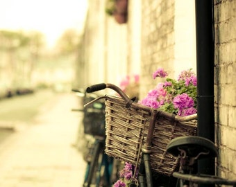 Bicycle Print, Yellow, Pink, Brown, Shabby Chic, Bike Art Print, Travel Photography, Large Wall Art