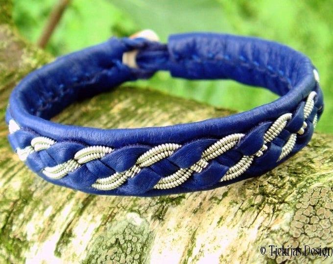 FENRIR Viking Bracelet Cuff   Custom Handmade Women and Mens Bracelet   Blue Reindeer Leather with Pewter Braid