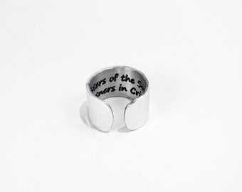 "Best Friend Gift / Sister Gift / Birthday Gift ~ Sisters of the Soul  Partners in Crime ~ Hidden Message Adjustable 1/2"" Cuff Ring"