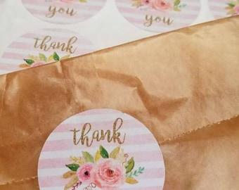 Thank you stickers, floral thank you stickers, floral thank you circles
