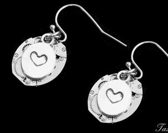 Dangle Heart Steampunk Earrings, Art Deco Drop Earrings, Victorian Jewelry