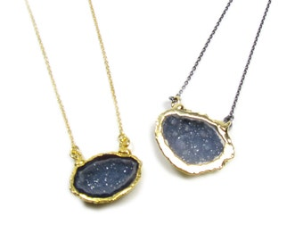 Drusy Geode Pendant Necklace