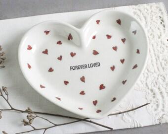 White heart wedding ring holder, engagement gift, his and hers, Ceramic ring holder, Custom ring dish gift FOREVER LOVED, gift under 25
