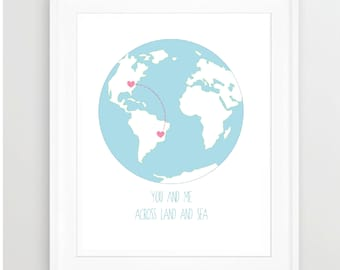 LOVE MAP, Personalized Long Distance Love, Heart, Geography Love Map