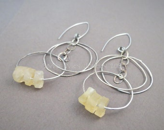 Earrings: Chandelier Sterling Silver Citrine Circles by Sarah Wiley Jewelry 180013CC