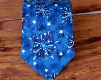 Patriotic Red White Blue Mens Necktie - cotton fireworks neckties for men - Independence Day tie - USA mens necktie - traditional self tying