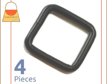 "1 Inch Square Ring, Black Satin Finish, Welded, 4 Pieces, Handbag Purse Bag Making Hardware Supplies, 1"" Rectangle Ring, RNG-AA083"