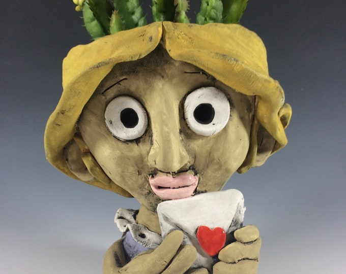 Nicole with Love Letter // Handmade // Succulent Pot // Planter // Pothead // Small // Home Decor // Ceramic // Pottery // Character // Love