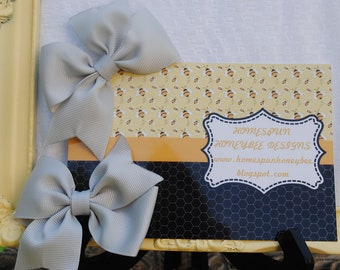 Gorgeous Grey Set of Two Hairbows... Loopy Hairbow Pair...Set of Two M2M...Flat Loop Grey Hair Bows Gray Bows