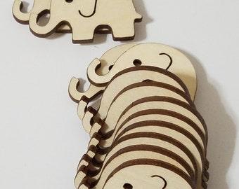 Wooden Elephant Shape Cut Outs ( Embellishments, Scrap Booking, Decoupage, etc...)