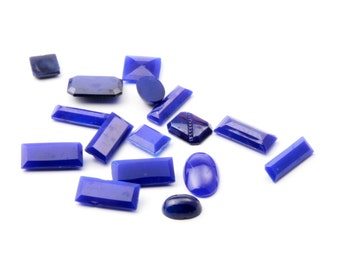 Lot (16) Czech vintage geometric cobalt sapphire blue glass rhinestones and cabochons