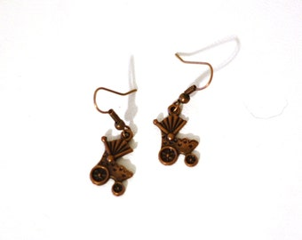 Antique Copper Alloy Baby Carriage Charm earrings - New Mom Baby Reveal Jewelry Accessories