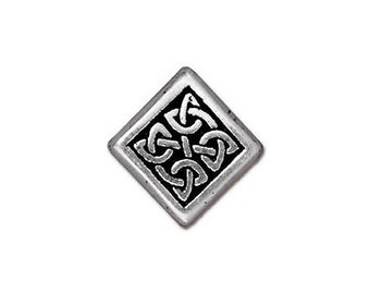 4 TierraCast Medium Celtic Diamond 1/2 inch ( 13 mm ) Silver Plated Pewter Beads