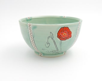 Ceramic Bowl // clay cereal bowl, clay dish, pottery bowl, wheelthrown pottery, handmade pottery, green bowl, poppy flowers, mishima, decals