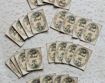 """36 """"Drink Me"""" Stickers- Alice in Wonderland party & Wonderland decorations vintage paper decorations Alice in Wonderland Drink me stickers"""