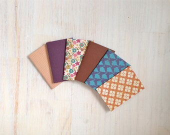 Notebooks: Tiny Journal Set of 6, Vintage, Wedding, Favors, Stocking Stuffer, For Her, For Him, Gift, Unique, Mini Journals, Kids, T063