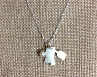 Small silver Mississippi charm with cowbell charm necklace