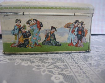Special English tea tin with antique Theevoorraadbus, advertising tin box, Japanese Geisha, S, Tin Litho storage container,