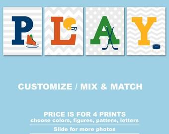 hockey nursery art, playroom decor hockey, sports theme nursery, hockey kids room prints, sports toddler decor, sports decor for boys room