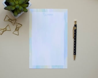 Personalized Name Notepad / Watercolor Notepad / Blue Notepad / Pink Notepad