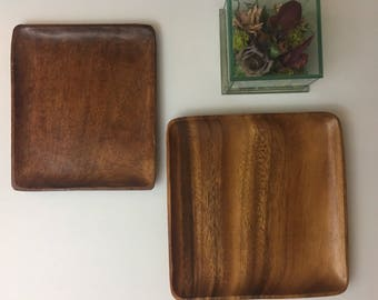 Pair of Vintage Monkey Wood Square Plates