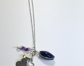 Purple Charm Sliver Necklace / Amethyst Necklace / Heart Charm Necklace