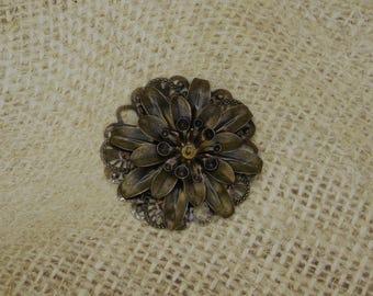 1 grosse fleur en métal bronze filigrane pétales pistils 47mm
