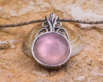Pink Quartz Pendant, Silver Quartz Pendant, Sterling Silver Pendant, June Birthstone Pendant, Summer Pendant, Pink Pendant, handmade
