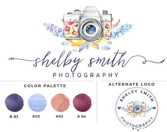 Water color Camera  Photography logo - Shelby Smith - Watermark 006