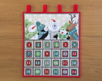 Childs Fabric Advent Calendar, Reusable Advent Calendar, Wall Hanging Advent, Quilted Holiday Countdown Calendar, Keepsake Advent Calendar