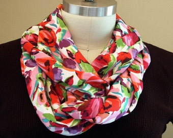 Bright Bold Summer Flowers Infinity Scarf Handmade