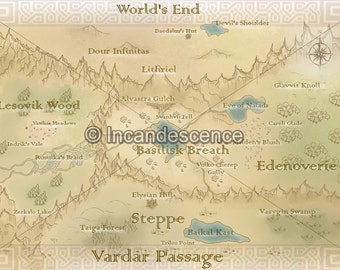 "Incandescence Map, Map of ""Candenta"" Print [Private Listing]"