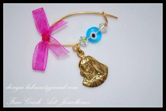 Madona Baby Brooch Sterling Silver Gold plated Swarovski Crystals Blue Eye Fine Greek Art Best Gift Baptism Birthday Mother Mom Newborn Girl