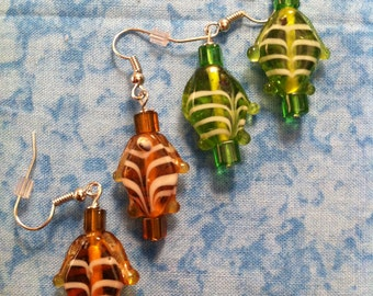 Lampwork Glass Fish Bead Earrings - Pick Your Color