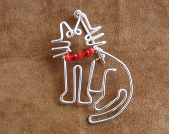 KITTY CAT BROOCH wirework pin cat jewelry cat wire