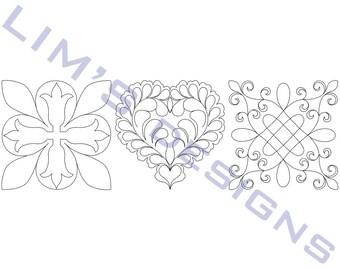 "Three Quilt Patterns N22 machine embroidery designs - 3 sizes 4x4"", 5x5"", 6x6"""