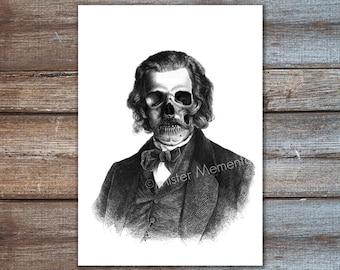 zombie art print digital, creepy art, zombie party decoration - halloween decor, dark art