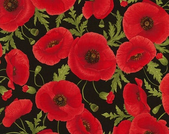 Tossed Poppies, Timeless Treasures Fabric, C5837 Black, Poppy Fabric, English Garden, Cotton Floral, Quilting, Quilt, Fabric By the Yard